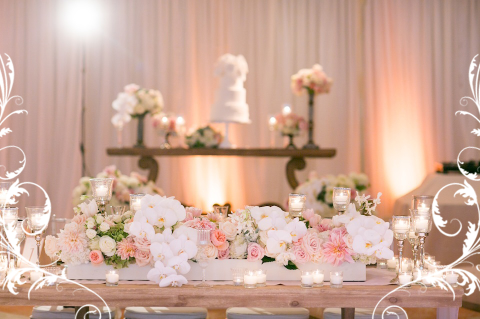 light pink bride groom table