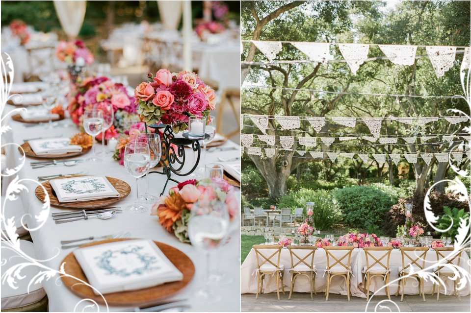 pink outdoor reception