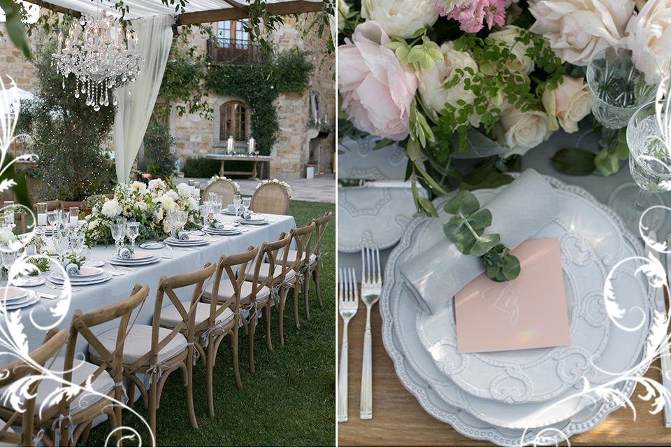 table draped in pink and white